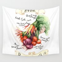 food Wall Tapestries featuring Food Poster by Brooke Weeber