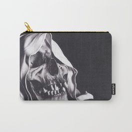 Realism Charcoal Drawing of Reaper Skull Carry-All Pouch