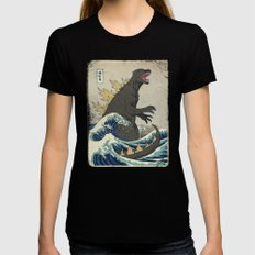 The Great Godzilla off Kanagawa Black MEDIUM Womens Fitted Tee