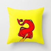 redhead Throw Pillows featuring Redhead by Moonworkshop