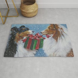 Christmas Shetland Sheepdogs dog art from an original painting by L.A.Shepard Rug