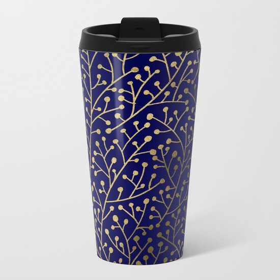 Gold Berry Branches on Navy Metal Travel Mug