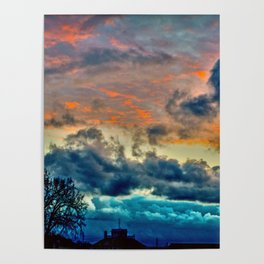 Sunset and Storm Poster