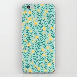 Emerald green and Yellow Minimal Retro Flowers Pattern iPhone Skin