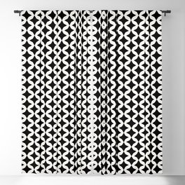 retro geometric black and white Blackout Curtain