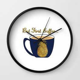 Gold Foil Pineapple Coffee Cup Design Wall Clock