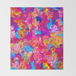 FLORAL FANTASY Bold Abstract Flowers Acrylic Textural Painting Neon Pink Turquoise Feminine Art Throw Blanket