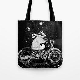 A fox rides a motorcycle Tote Bag