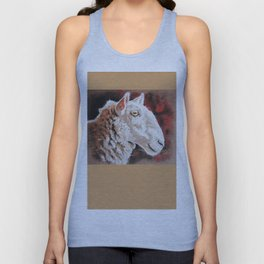 "Pastel Drawing ""Sheepish Grin"" Unisex Tank Top"