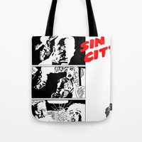sin city Tote Bags featuring Sin City by FYeahMelissa
