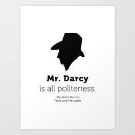 Pride and Prejudice Mr Darcy Quote Art Print