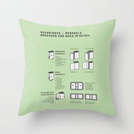 Buchbinden – Merkmale Broschur und Buch im Detail (in German) Throw Pillow