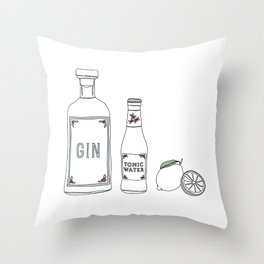 Gin tonic and lime illustration Throw Pillow