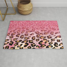 Cute girly trendy bubble gum pink faux glitter leopard animal print pattern Rug