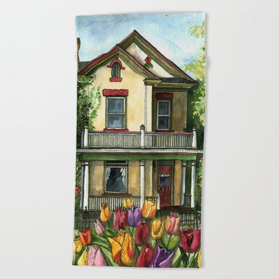 Farmhouse with Spring Tulips Beach Towel