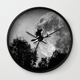 Flying witch | Moon witch | Witch cat | Witch broom | Halloween Wall Clock