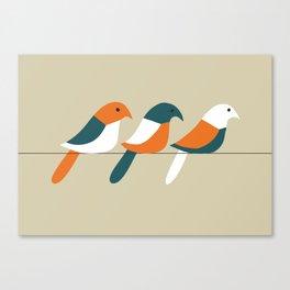 Birds on wire Canvas Print