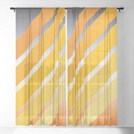 Orange Striped Gradient Sheer Curtain