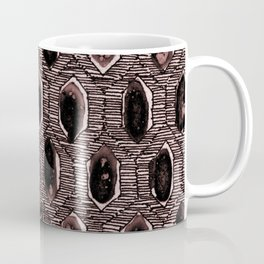 Watercolour Blackwork: 'Lozenge' Burnt Rose 2 (dark) Coffee Mug