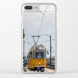 Yellow Budapest Tram Photography Clear iPhone Case