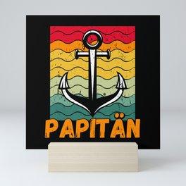 Papitän Papa Kapitän Anker Segeln Vintage Herren Mini Art Print