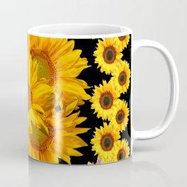 Classic Black & Golden Sunflowers Pattern Art Coffee Mug