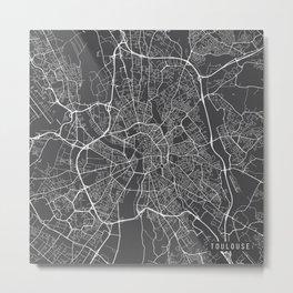 Toulouse Map, France - Gray Metal Print