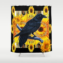 GRAPHIC BLACK CROW & YELLOW SUNFLOWERS ABSTRACT Shower Curtain