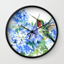 Hydrangea Flowers and Ruby Throat Hummingbird Wall Clock