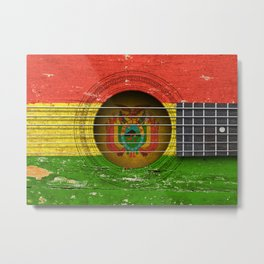 Old Vintage Acoustic Guitar with Bolivian Flag Metal Print