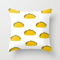 taco Throw Pillows featuring Taco  by Beautiful Artworks