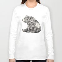 america Long Sleeve T-shirts featuring Bear // Graphite by Sandra Dieckmann