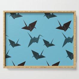 Blue origami cranes Serving Tray