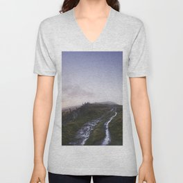 Mountain path and fence at sunset. Derbyshire, UK. Unisex V-Neck