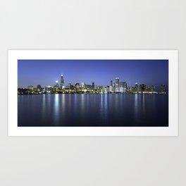 Chicago Skyline Dusk Panorama Art Print
