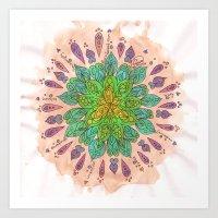 Teal Watercolor Mandala Art Print