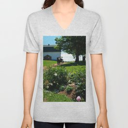 Horse Drawn Carriage on Farm in PEI Unisex V-Neck