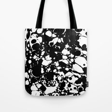 Black and white contrast ink spilled paint mess Tote Bag