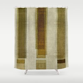 """Burlap Texture Greenery Columns"" Shower Curtain"