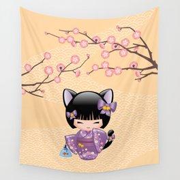 Japanese Neko Kokeshi Doll V2 Wall Tapestry