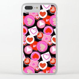 Crazy Hearts Clear iPhone Case