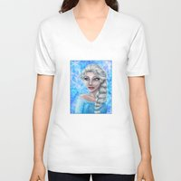 frozen elsa V-neck T-shirts featuring Elsa by Kimberly Castello