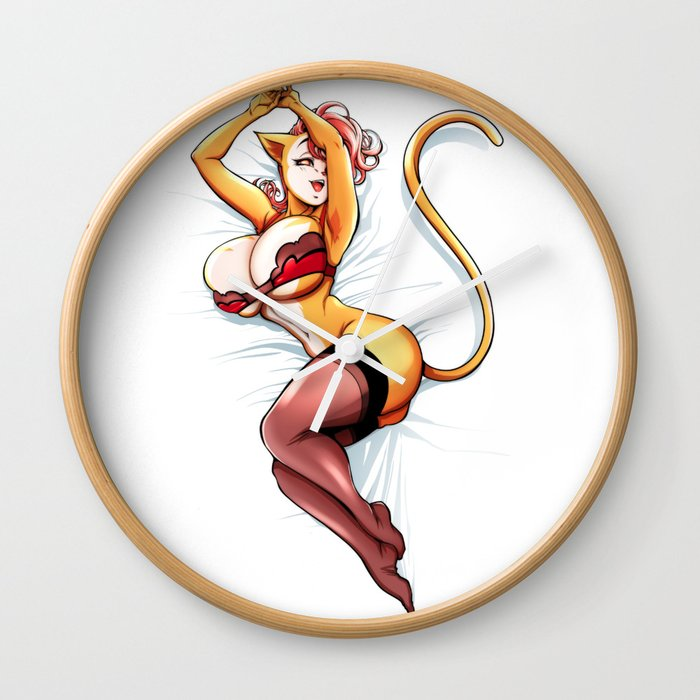 In bed with Dr Pussycat (Peepoodo) Wall Clock