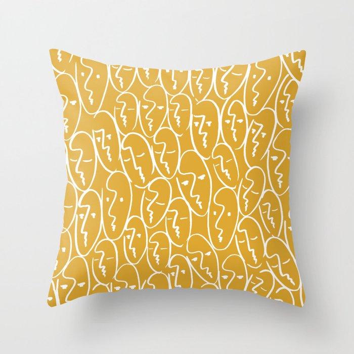 Faces (Mustard Yellow) Throw Pillow