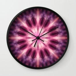 Pink purple mandala art Wall Clock