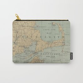 Vintage Massachusetts Lighthouse Map (1898) Carry-All Pouch