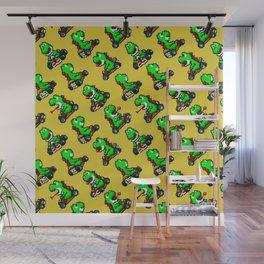 Super Mar!o Kart   Yellow   video game nostalgia pattern Wall Mural