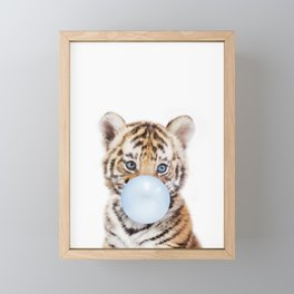 Blue Bubble Gum Tiger Cub Framed Mini Art Print