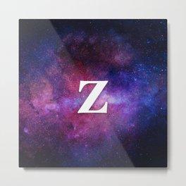 Monogrammed Logo Letter Z Initial Space Blue Violet Nebulaes Metal Print