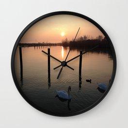 Sunset Swim Wall Clock